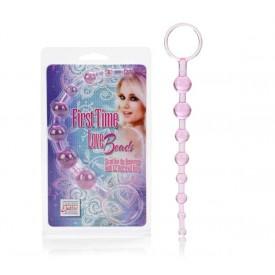 Розовая анальная цепочка First Time Love Beads