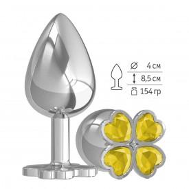 Большая серебристая анальная втулка с жёлтым клевером из кристаллов - 9,5 см.